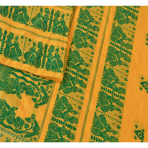 "Vintage Design Fabric Woven Yellow Baluchari Decor Craft Human 29""48"" - StompMarket"