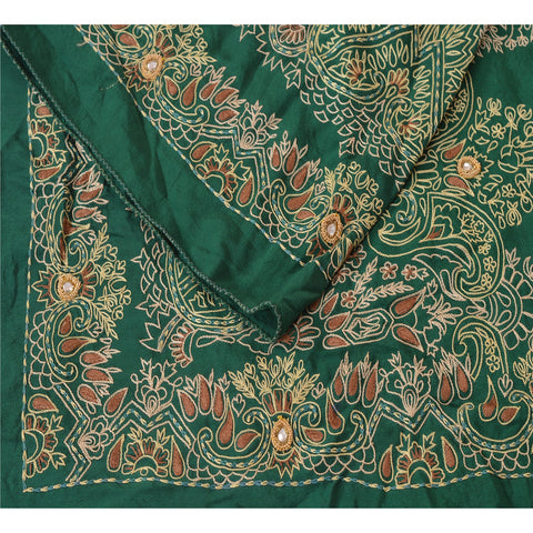 "Vintage Design Fabric Hand Beaded Green Decor Craft Kundan 15""X42"""