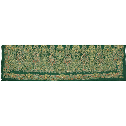 "Vintage Design Fabric Hand Beaded Green Decor Craft Kundan 15""X42"" - StompMarket"