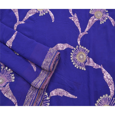 Vintage Hand Beaded Heavy Saree 100% Pure Georgette Silk Sequins Blue Sari