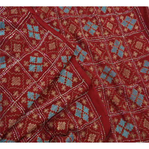 Vintage Hand Beaded Heavy Saree 100% Pure Crepe Silk Sequins Maroon Sari