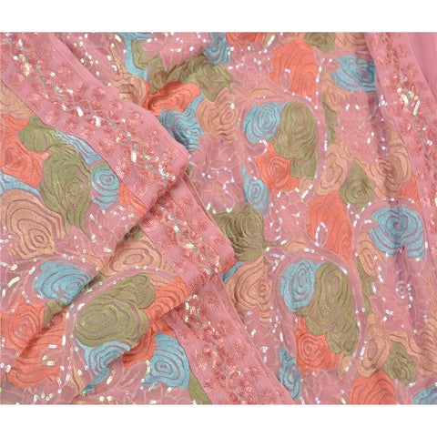 Vintage Embroidered Heavy Saree Georgette Sequins Pink Fabric Sari