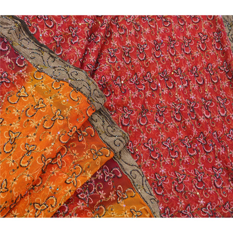 Vintage Hand Beaded Heavy Saree Net Sequins Fabric Orange Sari
