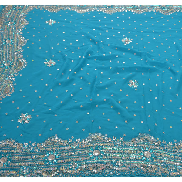 Vintage Hand Beaded Heavy Saree Georgette Sequins Blue Fabric Sari