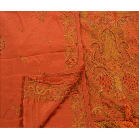 Vintage Hand Beaded Heavy Saree 100% Pure Satin Silk Orange Sari