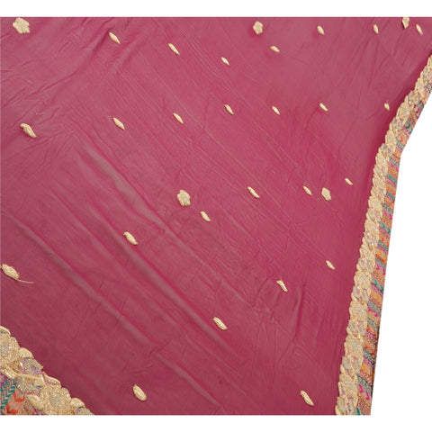 Vintage Saree Pure Georgette Silk Hand Beaded Pre Stitched Lehenga Heavy Sari