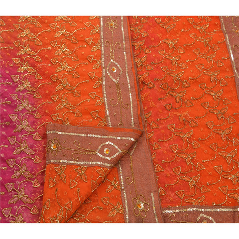 Vintage Hand Beaded Heavy Saree Net Fabric Pink Glass Beads Sari