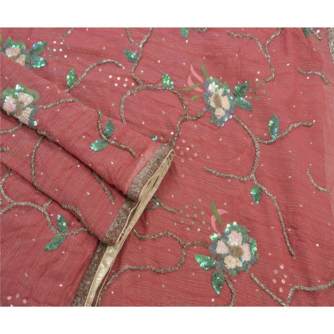 Vintage Hand Beaded Heavy Saree 100% Pure Georgette Silk Sequins Pink Sari