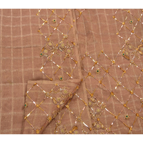 Vintage Hand Beaded Heavy Saree Silk Blend Woven Brown Sequins Sari