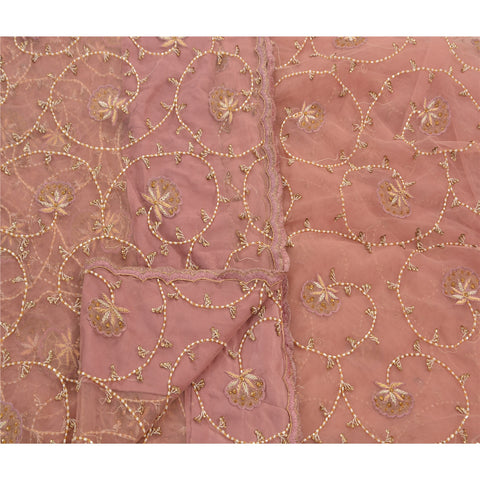 Vintage Hand Beaded Heavy Saree Net Glass Beads Pink Fabric Sari