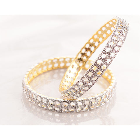 Zephyrr Fashion Gold Tone Bangle with American Diamonds for Women