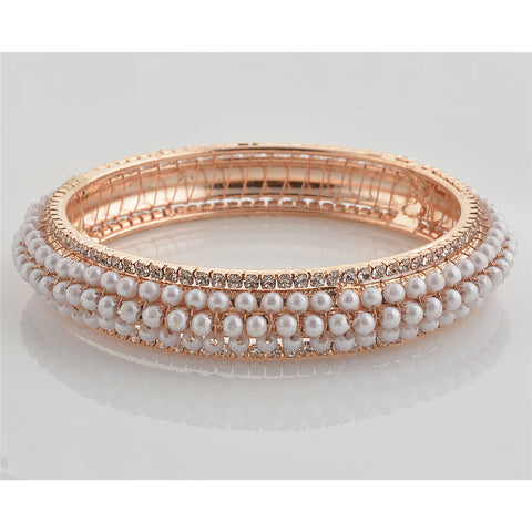 Zephyrr Fashion Gold Tone Bangle with Pearls Zircons for Women