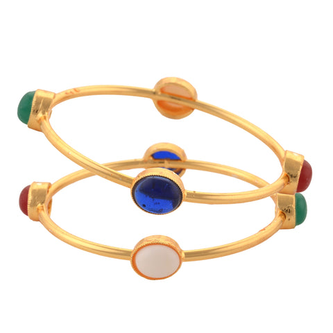 Fashion Gold Tone Bangle With Onyx For Women Pair Party Wear - StompMarket
