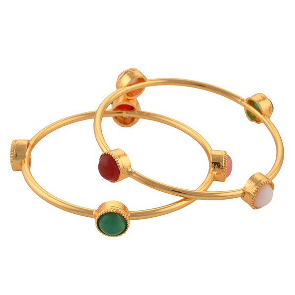 Fashion Gold Tone Bangle With Onyx For Women Party Wear