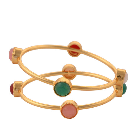 Fashion Gold Tone Bangle With Onyx For Women Party Wear - StompMarket