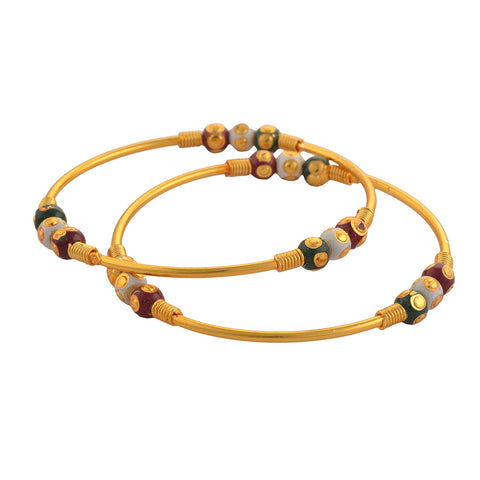 Fashion Gold Tone Bangle With Meenakari Beads For Women Pair