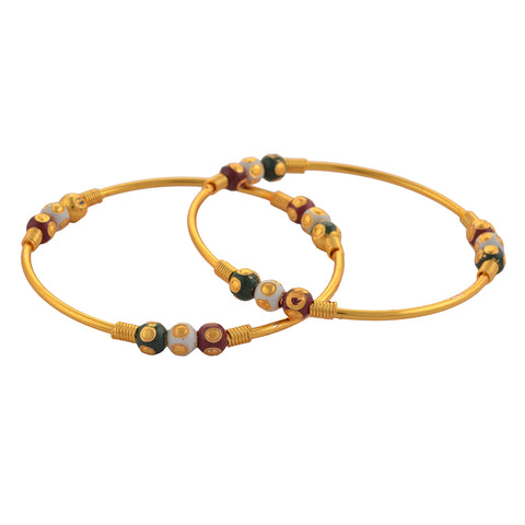 Fashion Gold Tone Bangle With Meenakari Beads For Women Pair - StompMarket