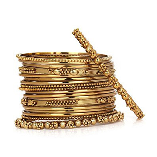 Zephyrr Fashion Antique Look Jewellery Gold Plated Traditional Bracelet Bangles