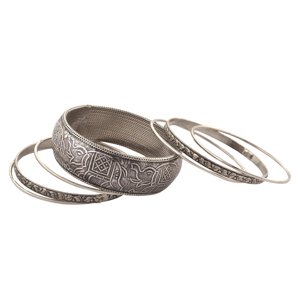 Fashion Oxidized Silver Bangle Set With Carvings For Women