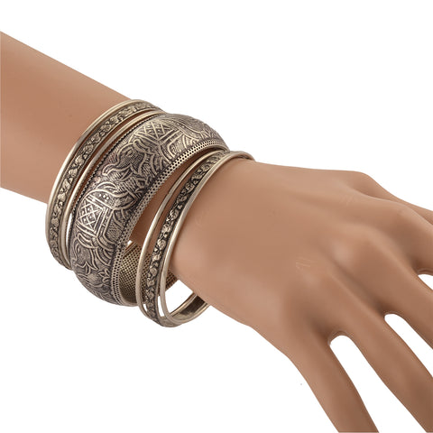 Fashion Oxidized Silver Bangle Set With Carvings For Women - StompMarket
