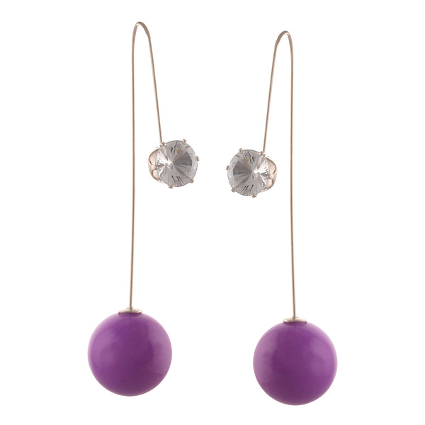 Fashion Funky Needle Earrings Ear Jackets With Zircons For Women & Girls