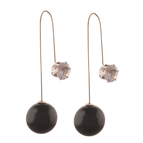 Fashion Funky Needle Earrings Ear Jackets With Zircons For Women & Girls - StompMarket