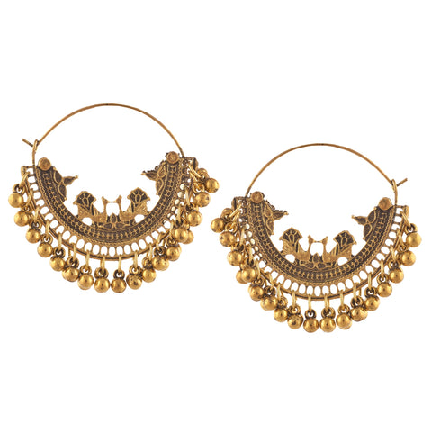 Fashion Oxidized Silver Beaded Chandbali Hoop Earrings For Girls
