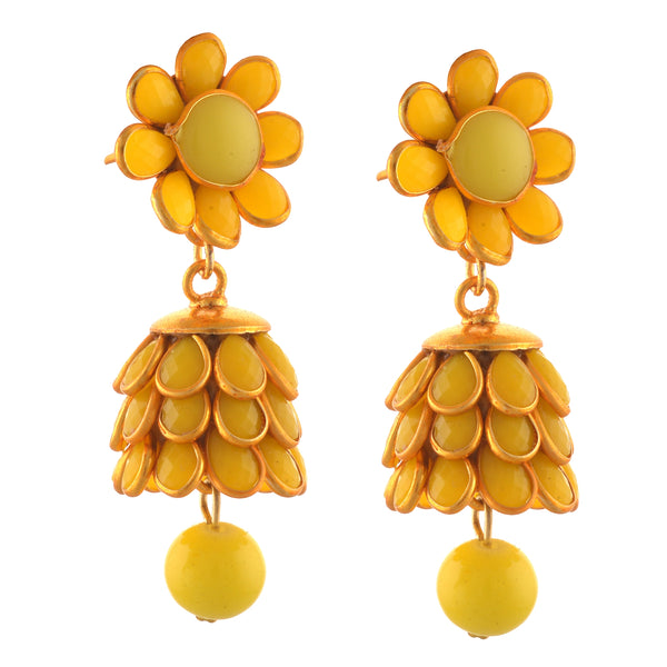 Fashion Golden Pierced Jhumki Earrings With Rhinestones For Girls