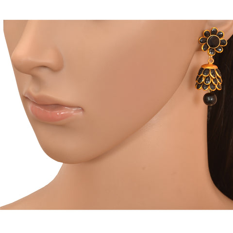 Fashion Golden Pierced Jhumki Earrings With Rhinestones For Girls - StompMarket