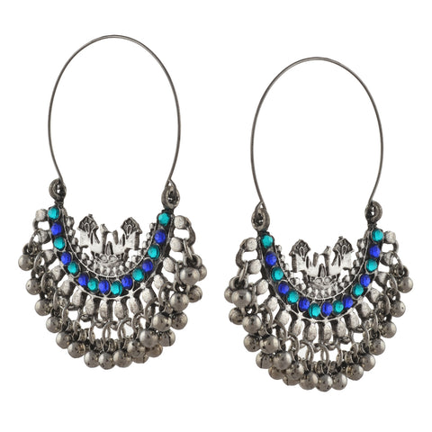 Fashion Oxidized Silver Beaded Chandbali Hoop Earrings Rhinestones - StompMarket