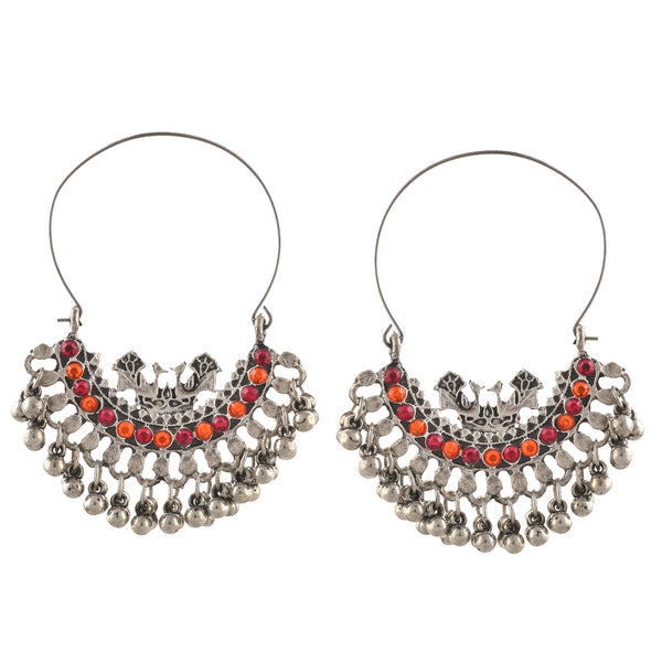 Fashion Oxidized Silver Beaded Chandbali Hoop Earrings Rhinestones