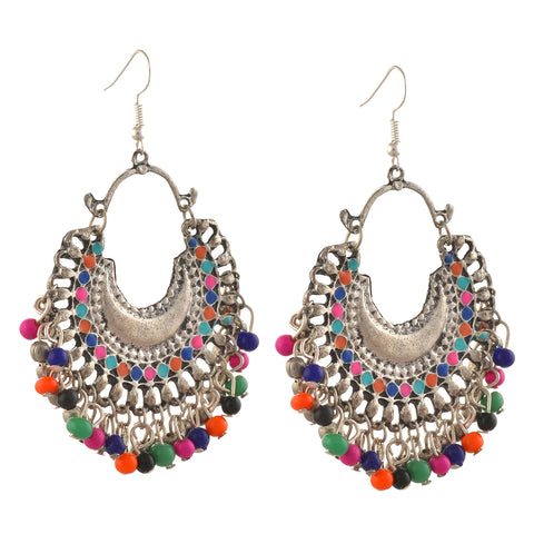 Fashion German Silver Afghani Dangler Hook Chandbali Earrings - StompMarket