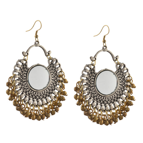 Fashion German Silver Afghani Dangler Hook Chandbali Earrings Mirrors - StompMarket