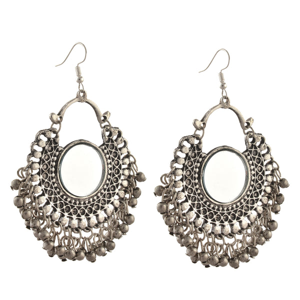 Fashion German Silver Afghani Dangler Hook Chandbali Earrings Mirrors