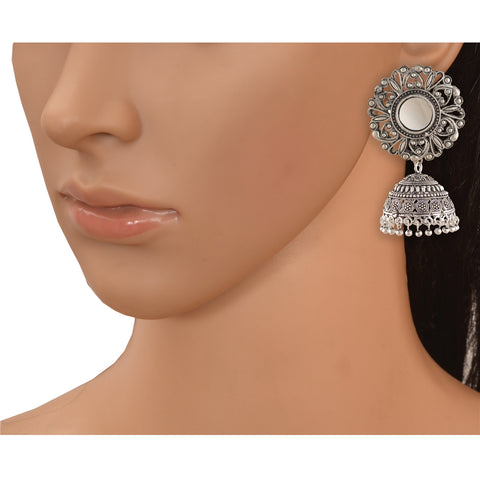 Fashion German Silver Hanging Hook Dangle Jhumki Earrings With Mirrors - StompMarket