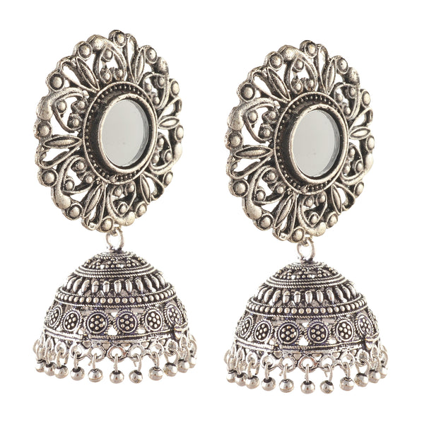 Fashion German Silver Hanging Hook Dangle Jhumki Earrings With Mirrors