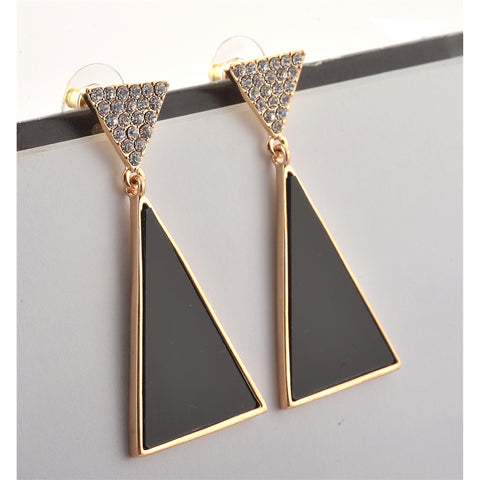 Fashion Pierced Hanging Earrings For Women Triangular With Zircons - StompMarket