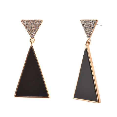 Fashion Pierced Hanging Earrings For Women Triangular With Zircons