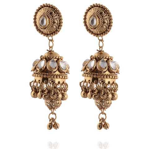 Fashion Jhumki Lightweight Pierced Earrings Ethnic With Kundan Stones