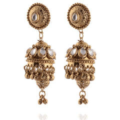 Fashion Jhumki Lightweight Pierced Earrings Ethnic With Kundan Stones - StompMarket