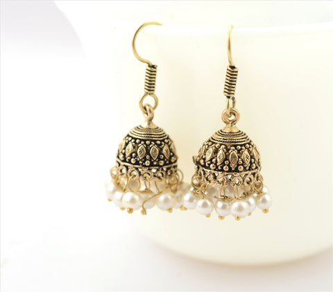 Fashion Jhumki Hook Lightweight Earrings Brass Ethnic With Pearl Beads - StompMarket