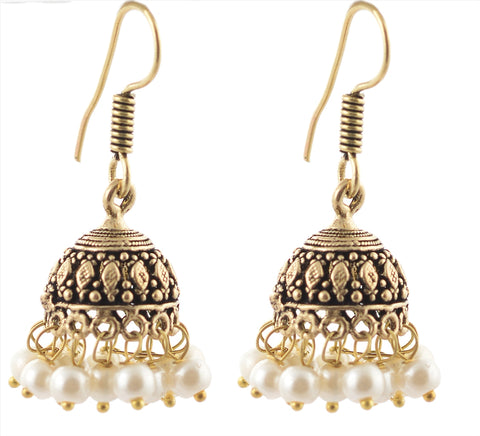 Fashion Jhumki Hook Lightweight Earrings Brass Ethnic With Pearl Beads