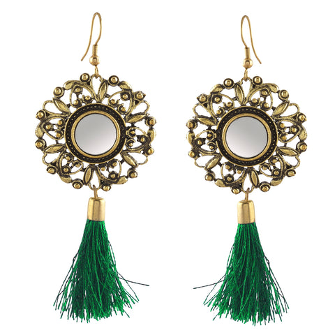 Zephyrr Fashion Hanging Hook Dangle Mirror Earrings with Tassel