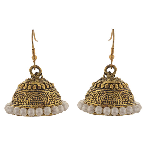 Fashion Light Weight Jhumki Gold Tone Earrings For Women With Pearls - StompMarket