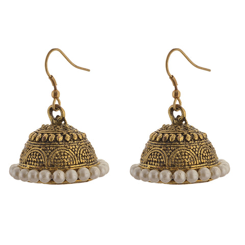 Fashion Light Weight Jhumki Gold Tone Earrings For Women With Pearls