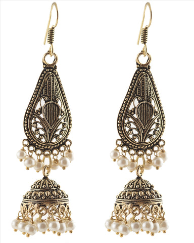 Fashion German Silver Light Weight Hook Jhumki Earrings With Pearls
