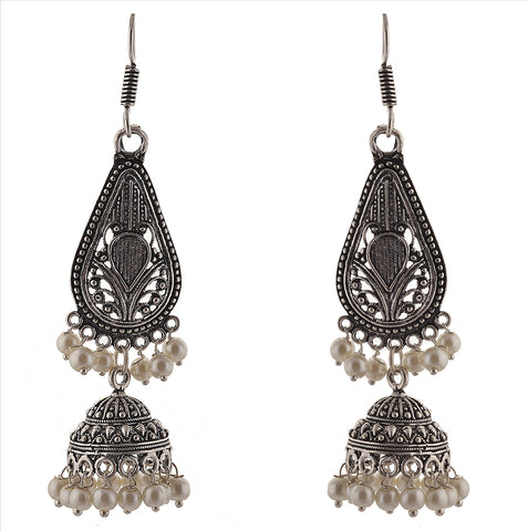 Fashion German Silver Light Weight Hook Jhumki Earrings With Pearls - StompMarket