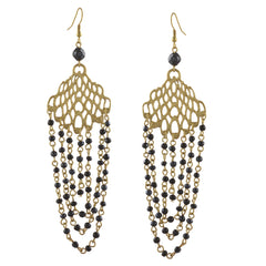 Ornamenta Fashion Lightweight Gold Tone Beaded Hook Earrings