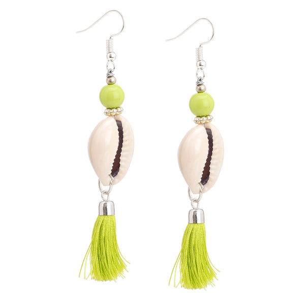 Zephyrr Fashion Lightweight Hook Silk Thread Tassel Earrings with Beads