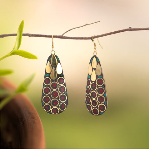 Ornamenta Earrings Tibetan Dangle & Drop Hook Inlay Work For Women and Girls